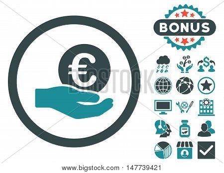Euro Salary Hand icon with bonus symbols. Vector illustration style is flat iconic bicolor symbols, soft blue colors, white background.