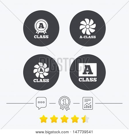 A-class award icon. A-class ventilation sign. Premium level symbols. Chat, award medal and report linear icons. Star vote ranking. Vector