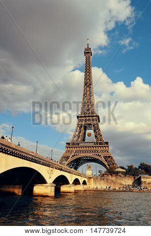 River Seine and Eiffel Tower in Paris, France.