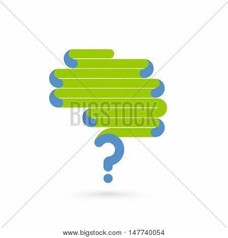Creative abstract line concept of the human brain with question mark symbol. Vector illustration
