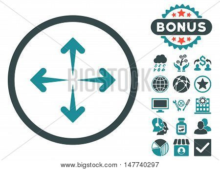 Expand Arrows icon with bonus elements. Vector illustration style is flat iconic bicolor symbols, soft blue colors, white background.