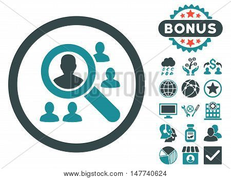 Explore Patients icon with bonus pictogram. Vector illustration style is flat iconic bicolor symbols, soft blue colors, white background.