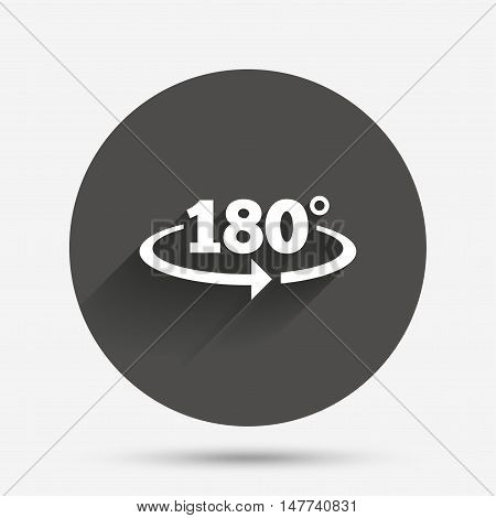 Angle 180 degrees sign icon. Geometry math symbol. Circle flat button with shadow. Vector