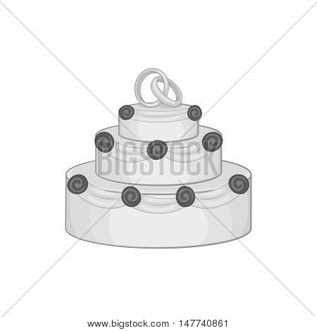 Wedding cake icon in black monochrome style on a white background vector illustration