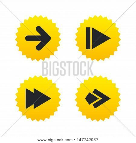 Arrow icons. Next navigation arrowhead signs. Direction symbols. Yellow stars labels with flat icons. Vector