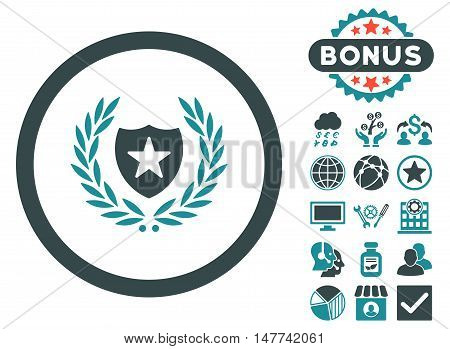 Glory Shield icon with bonus pictogram. Vector illustration style is flat iconic bicolor symbols, soft blue colors, white background.