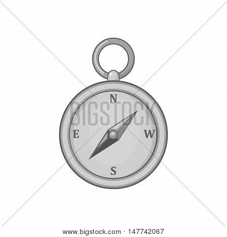 Compass icon in black monochrome style on a white background vector illustration
