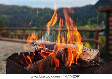 bright fire. The concept of travel and lifestyle