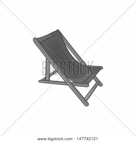 Beach chaise icon in black monochrome style on a white background vector illustration