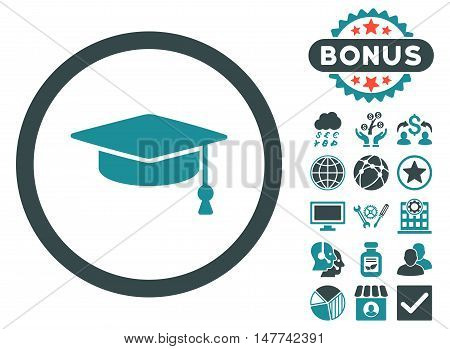 Graduation Cap icon with bonus design elements. Vector illustration style is flat iconic bicolor symbols, soft blue colors, white background.
