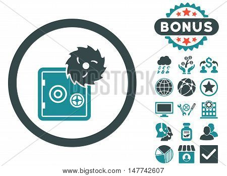 Hacking Theft icon with bonus symbols. Vector illustration style is flat iconic bicolor symbols, soft blue colors, white background.