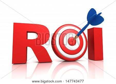 return on investment - roi 3d illustration isolated on white background