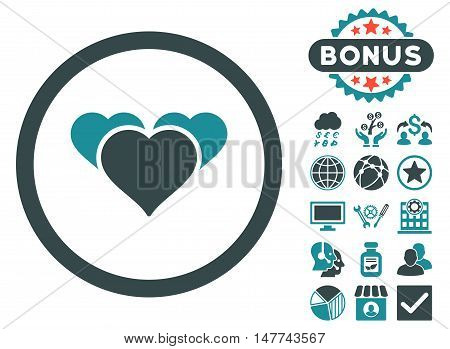 Heart Favourites icon with bonus pictures. Vector illustration style is flat iconic bicolor symbols, soft blue colors, white background.