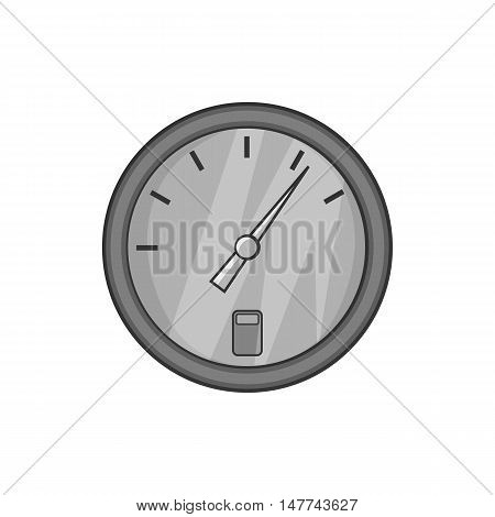 Speedometer icon in black monochrome style isolated on white background. Spare parts symbol vector illustration