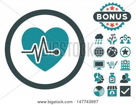 Heart Pulse icon with bonus symbols. Vector illustration style is flat iconic bicolor symbols, soft blue colors, white background.