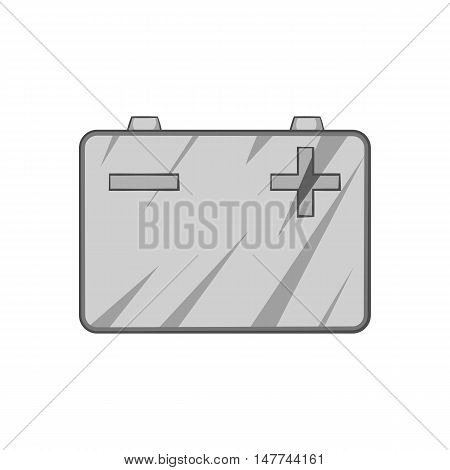 Machine battery icon in black monochrome style isolated on white background. Electric power symbol vector illustration