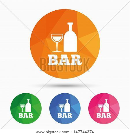 Bar or Pub sign icon. Wine bottle and Glass symbol. Alcohol drink symbol. Triangular low poly button with flat icon. Vector