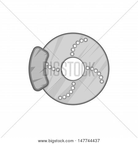 Disc brake car icon in black monochrome style isolated on white background. Mechanism symbol vector illustration