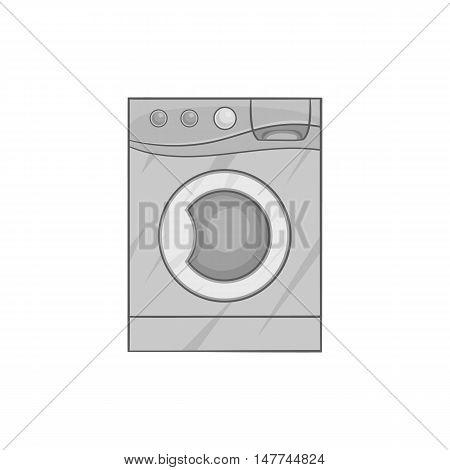 Washing machine icon in black monochrome style isolated on white background. Wash symbol vector illustration
