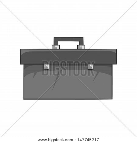 Suitcase with tools icon in black monochrome style isolated on white background. Repair symbol vector illustration