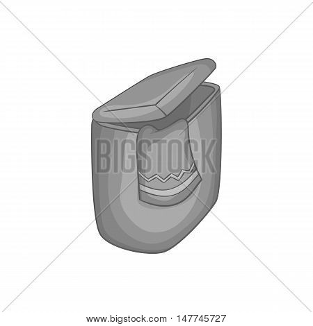 Box for towels icon in black monochrome style isolated on white background. Home textiles symbol vector illustration