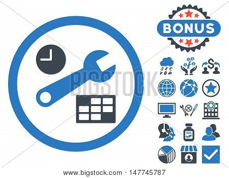Date and Time Setup icon with bonus pictogram. Vector illustration style is flat iconic bicolor symbols, smooth blue colors, white background.