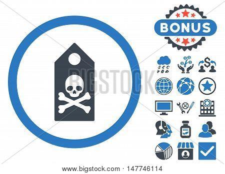 Death Mark icon with bonus symbols. Vector illustration style is flat iconic bicolor symbols, smooth blue colors, white background.