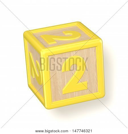 Number 2 Two Wooden Alphabet Blocks Font Rotated. 3D
