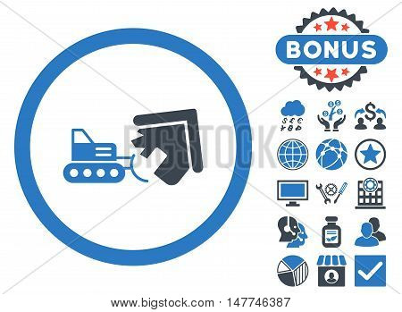 Demolition icon with bonus design elements. Vector illustration style is flat iconic bicolor symbols, smooth blue colors, white background.