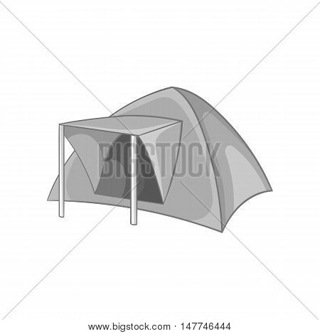 Tourist tent icon in black monochrome style isolated on white background. Recreation symbol vector illustration