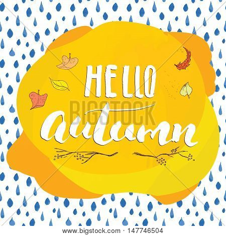 Autumn Season Lettering. Hand Drawn Vector Illustration.