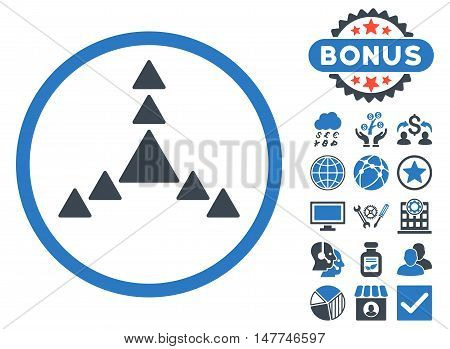 Direction Triangles icon with bonus pictures. Vector illustration style is flat iconic bicolor symbols, smooth blue colors, white background.