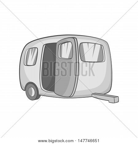Trailer icon in black monochrome style isolated on white background. Travel symbol vector illustration