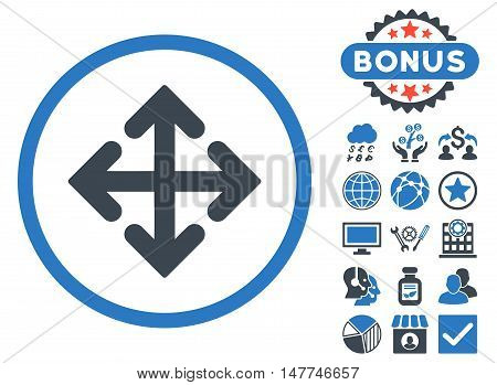 Direction Variants icon with bonus design elements. Vector illustration style is flat iconic bicolor symbols, smooth blue colors, white background.