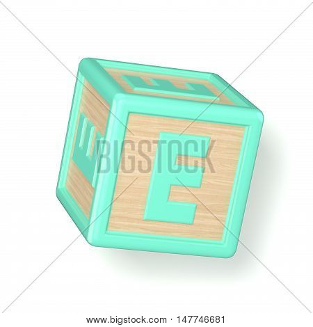 Letter E Wooden Alphabet Blocks Font Rotated. 3D