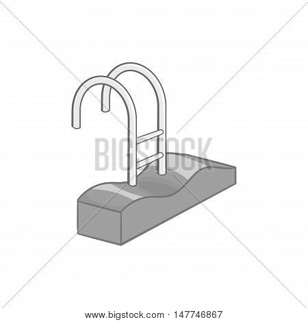 Swimming pool ladder icon in black monochrome style isolated on white background. Pool symbol vector illustration