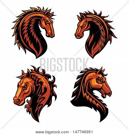 Fire horse head mascot with brown wild mustang stallion, adorned by ornaments of curly fire flames. Sporting team or club symbol design