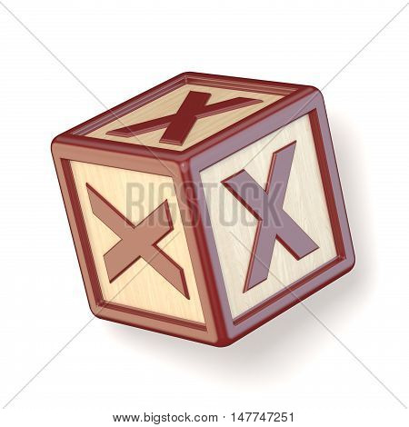 Letter X Wooden Alphabet Blocks Font Rotated. 3D