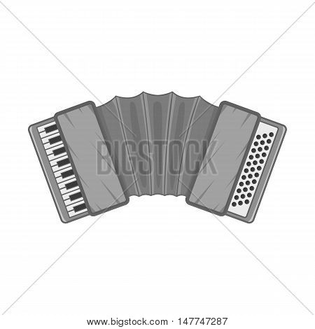 Accordion icon in black monochrome style isolated on white background. Musical instrument symbol vector illustration