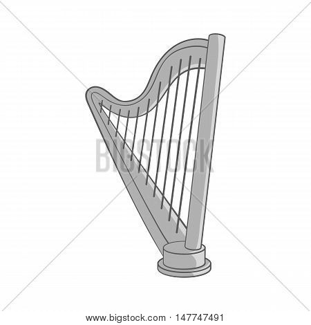 Harp icon in black monochrome style isolated on white background. Musical instrument symbol vector illustration