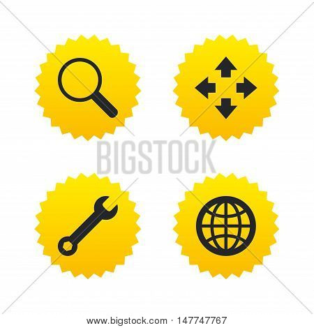 Magnifier glass and globe search icons. Fullscreen arrows and wrench key repair sign symbols. Yellow stars labels with flat icons. Vector