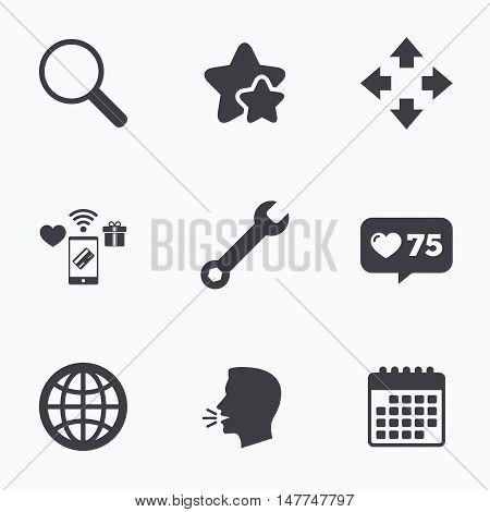 Magnifier glass and globe search icons. Fullscreen arrows and wrench key repair sign symbols. Flat talking head, calendar icons. Stars, like counter icons. Vector