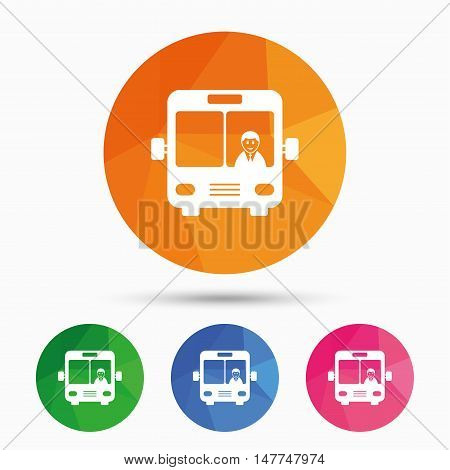 Bus sign icon. Public transport with driver symbol. Triangular low poly button with flat icon. Vector