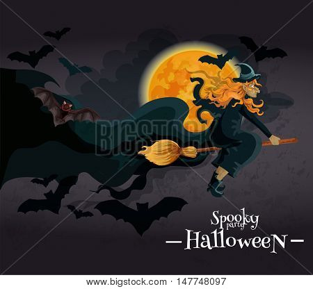 Spooky Halloween Party invitation banner. Witch with red hair and hat on broom flying to halloween party on the background of full yellow moon and black bats. Vector decoration template design