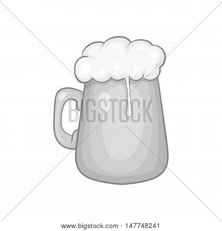 Mug with beer icon in black monochrome style isolated on white background. Dishes and drink symbol vector illustration