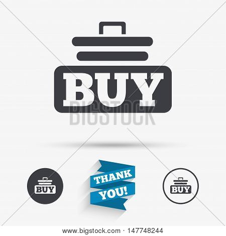 Buy sign icon. Online buying cart button. Flat icons. Buttons with icons. Thank you ribbon. Vector