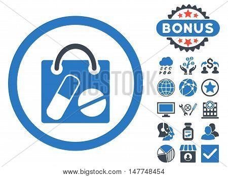 Drugs Shopping Bag icon with bonus symbols. Vector illustration style is flat iconic bicolor symbols, smooth blue colors, white background.