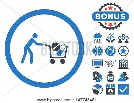 Drugs Shopping Cart icon with bonus pictogram. Vector illustration style is flat iconic bicolor symbols, smooth blue colors, white background.
