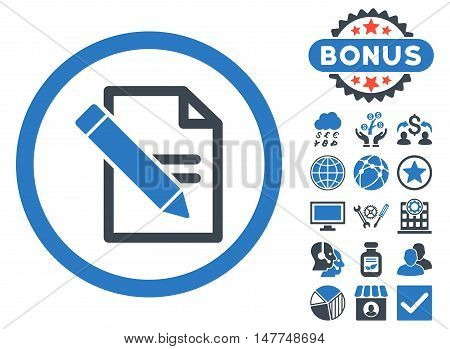 Edit Records icon with bonus symbols. Vector illustration style is flat iconic bicolor symbols, smooth blue colors, white background.