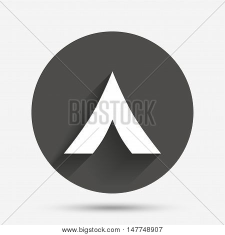 Tourist tent sign icon. Camping symbol. Circle flat button with shadow. Vector